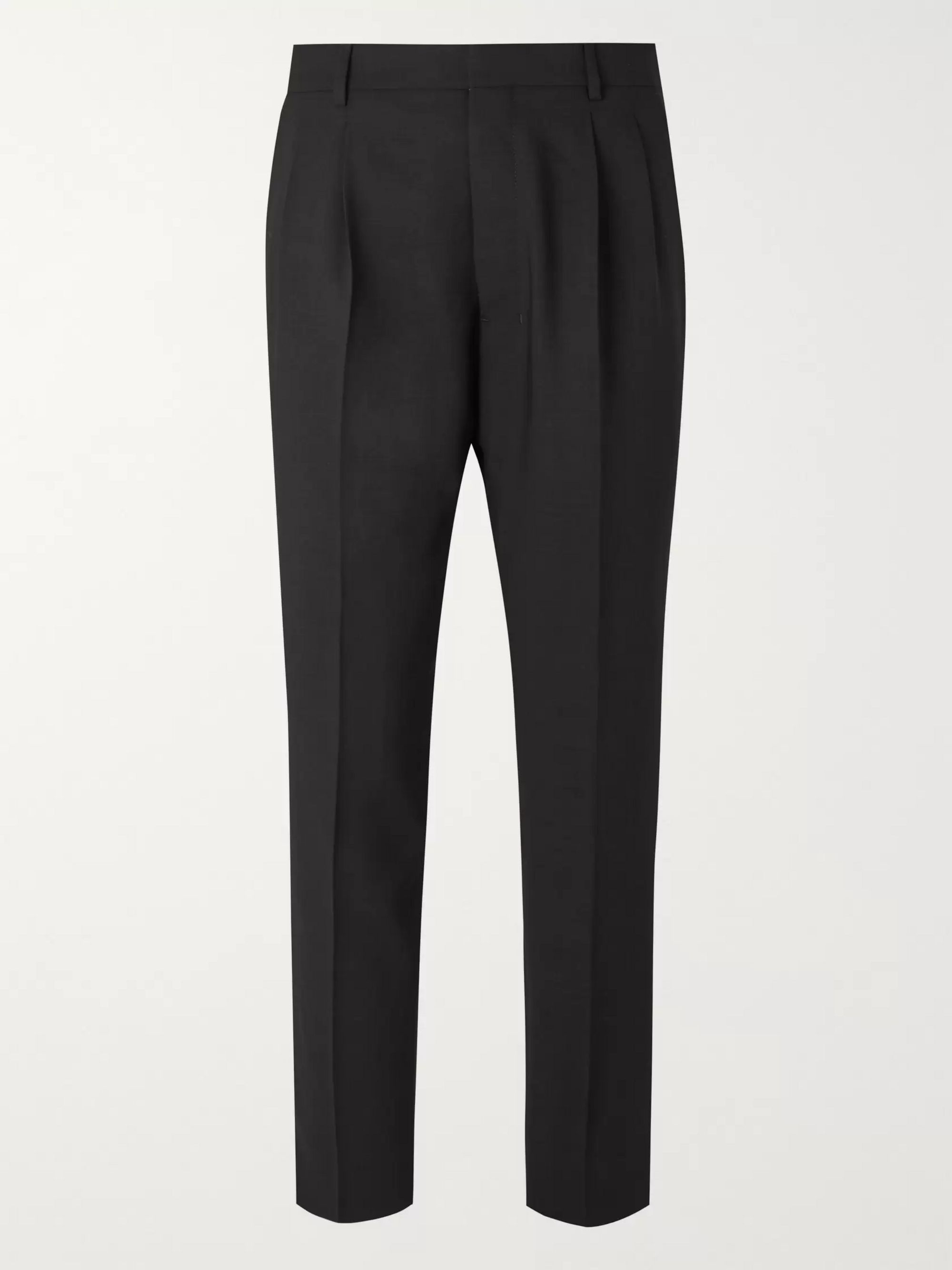 AMI Black Tapered Pleated Wool Trousers