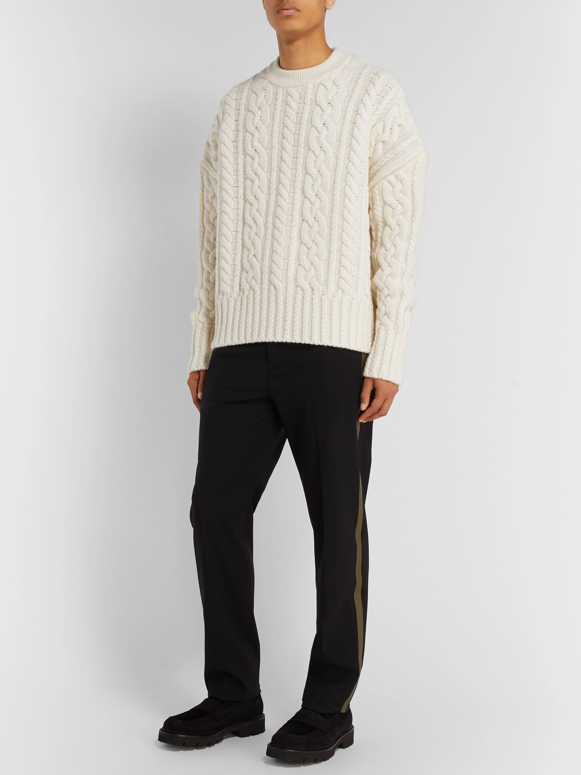 AMI Oversized Cable-Knit Wool Sweater