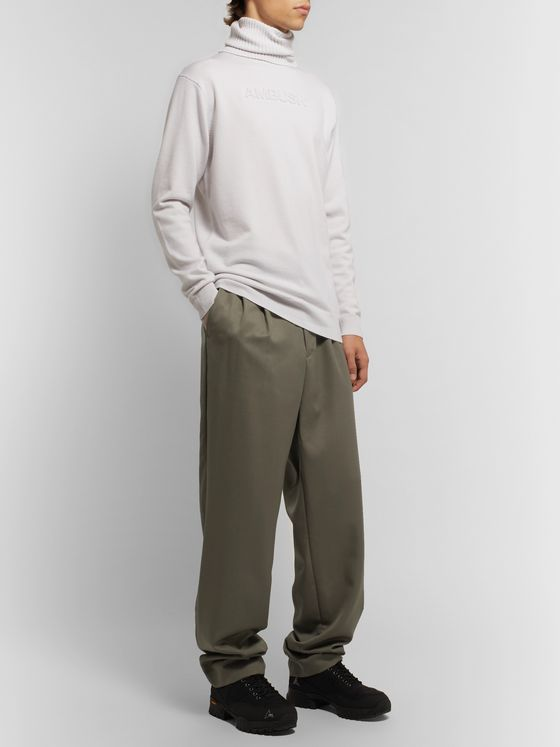 AMBUSH® Webbing-Trimmed Pleated Wool-Twill Trousers