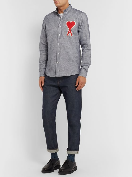 AMI Slim-Fit Button-Down Collar Appliquéd Brushed-Cotton Oxford Shirt