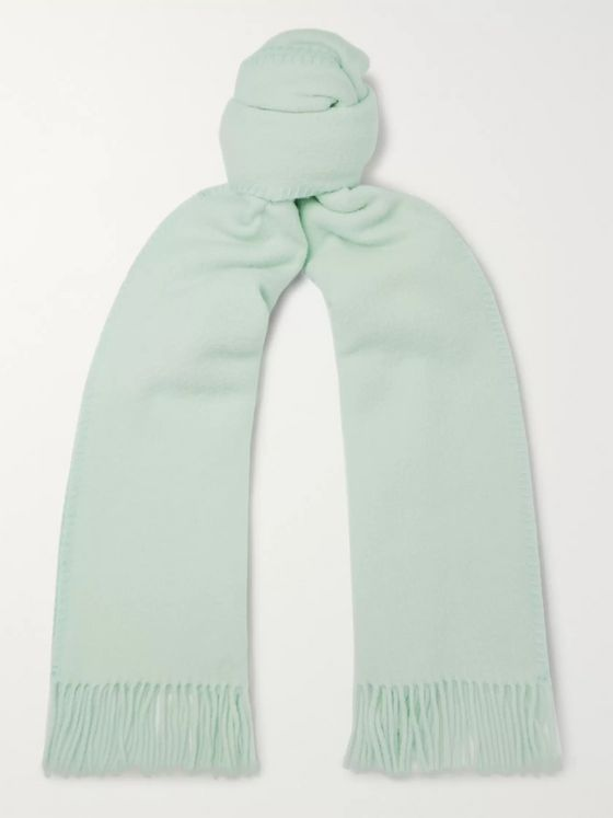 AMI Logo-Appliquéd Fringed Virgin Wool Scarf