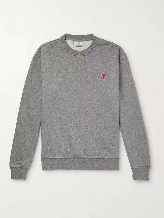 AMI Logo-Appliquéd Loopback Cotton-Jersey Sweatshirt