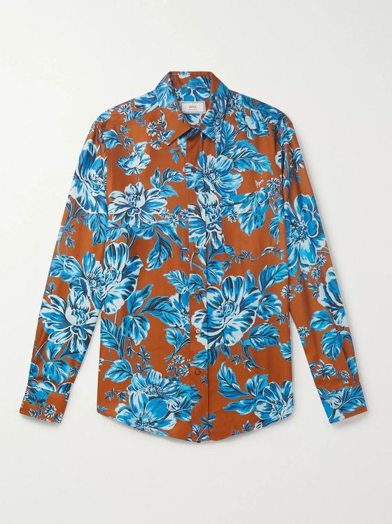 AMI PARIS Floral-Print Twill Shirt