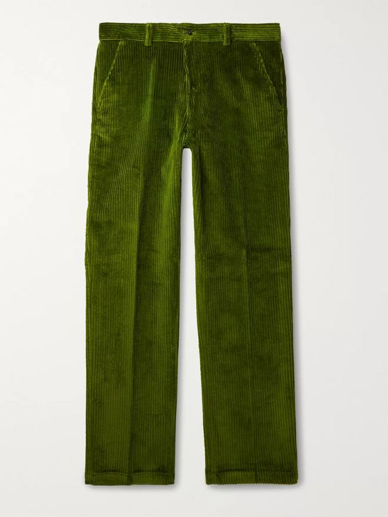 AMI PARIS Green Cotton-Corduroy Suit Trousers