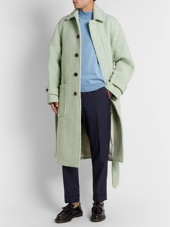 AMI PARIS Belted Wool and Alpaca-Blend Coat