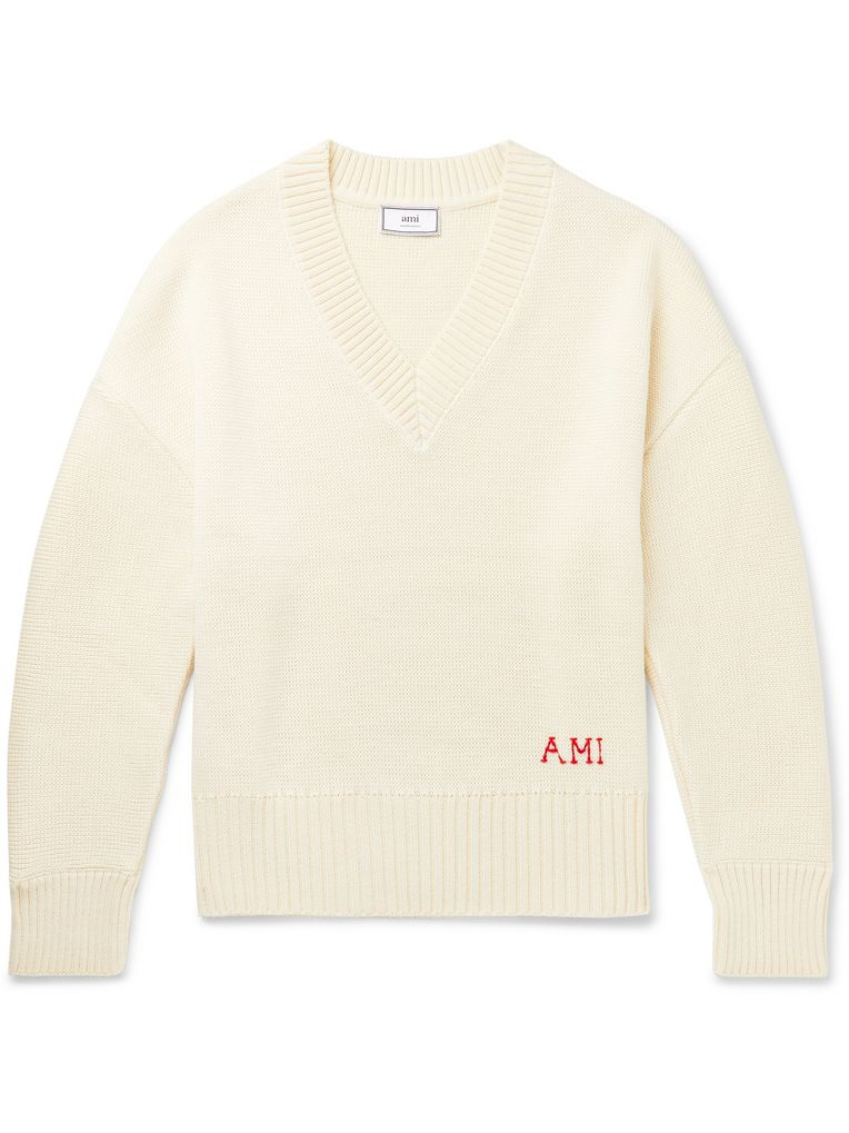 AMI Oversized Logo-Embroidered Wool Sweater