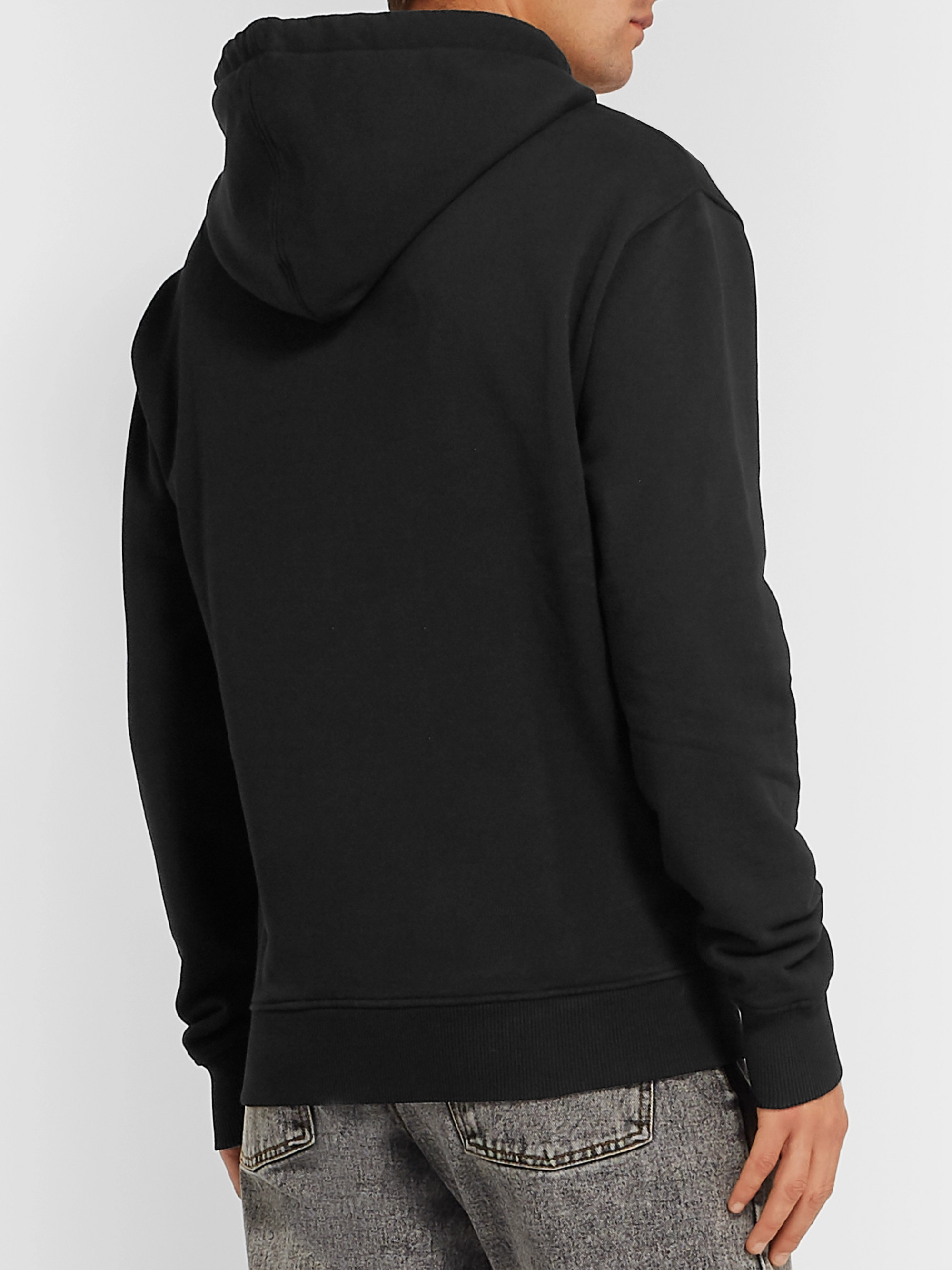 AMI Logo-Embroidered Mélange Loopback Cotton-Jersey Hoodie