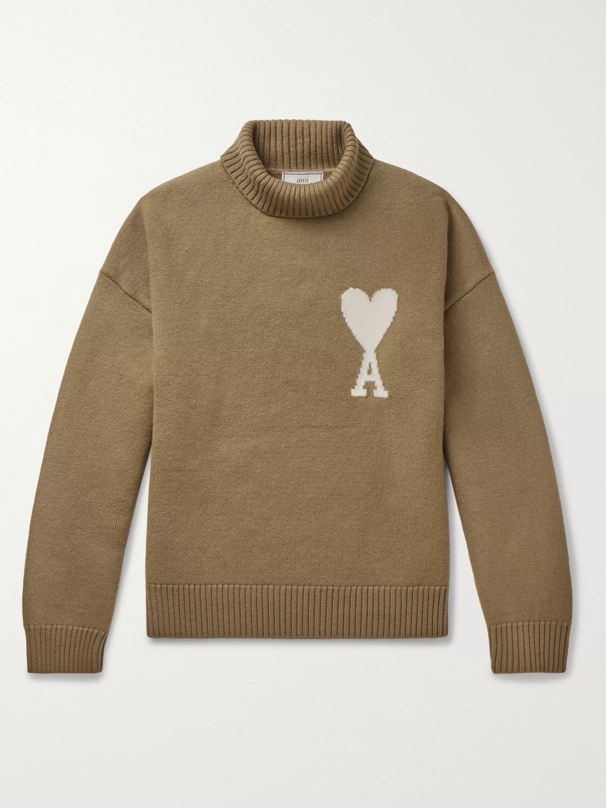 logo-intarsia-merino-wool-rollneck-sweater by ami