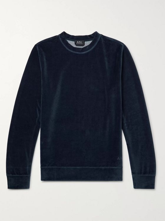 A.P.C. Band Cotton-Blend Velour Sweatshirt