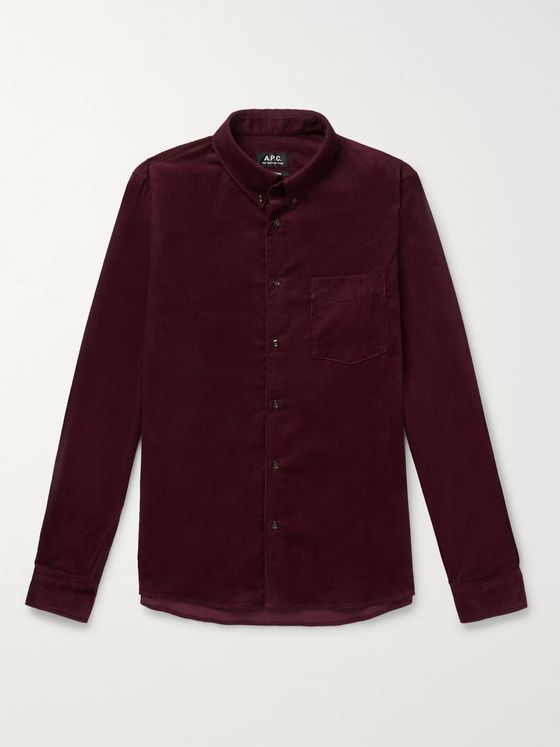 A.P.C. Button-Down Collar Cotton-Corduroy Shirt