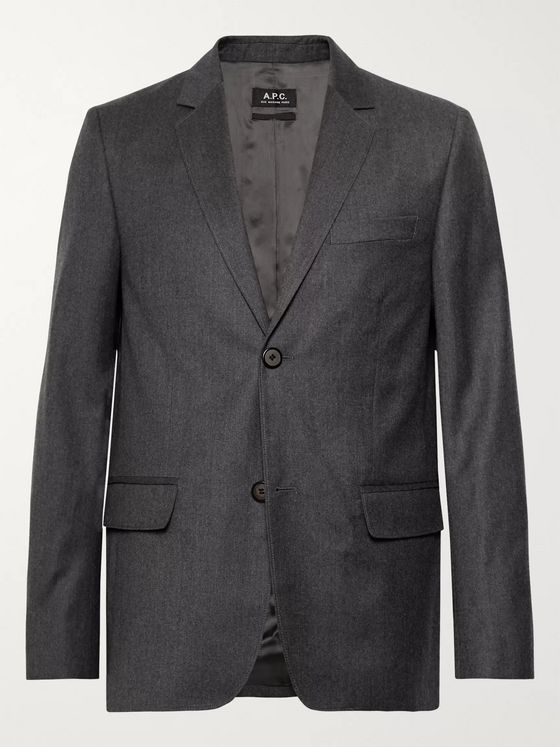 A.P.C. Dark-Grey Spencer Mélange Virgin Wool-Flannel Suit Jacket