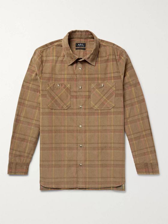 A.P.C. Tundra Checked Cotton-Corduroy Shirt