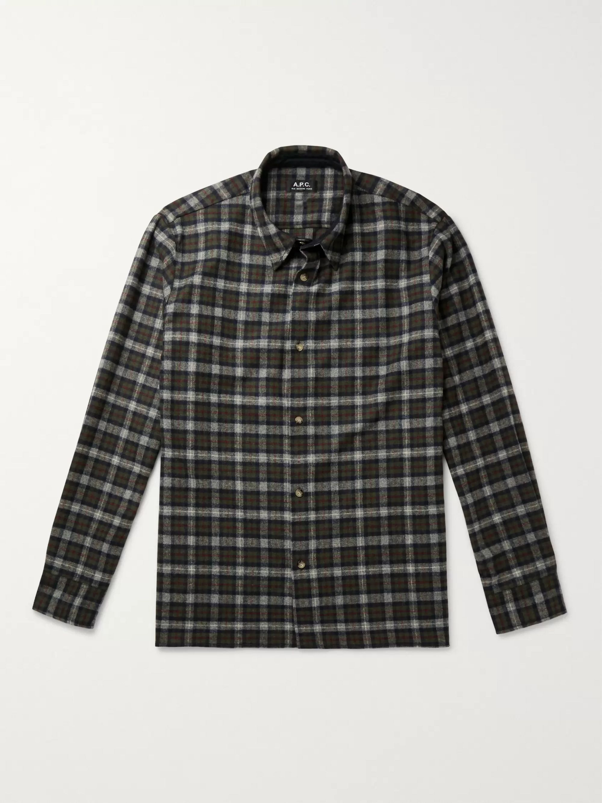 A.P.C. Land Checked Wool-Blend Flannel Overshirt