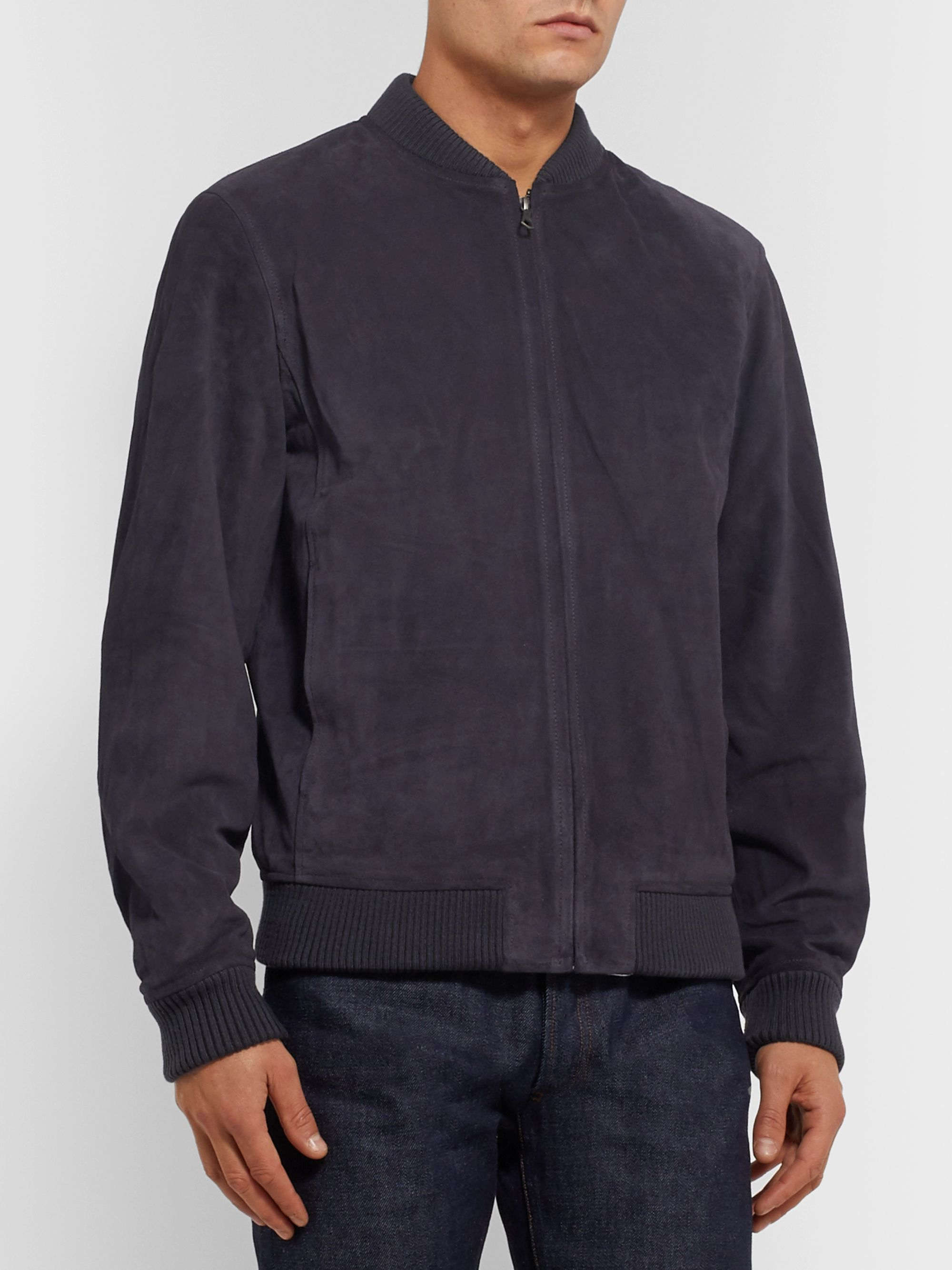 A.P.C. Bryan Suede Bomber Jacket