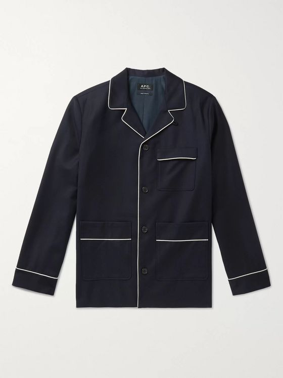 A.P.C. Contrast-Tipped Virgin Wool-Flannel Jacket