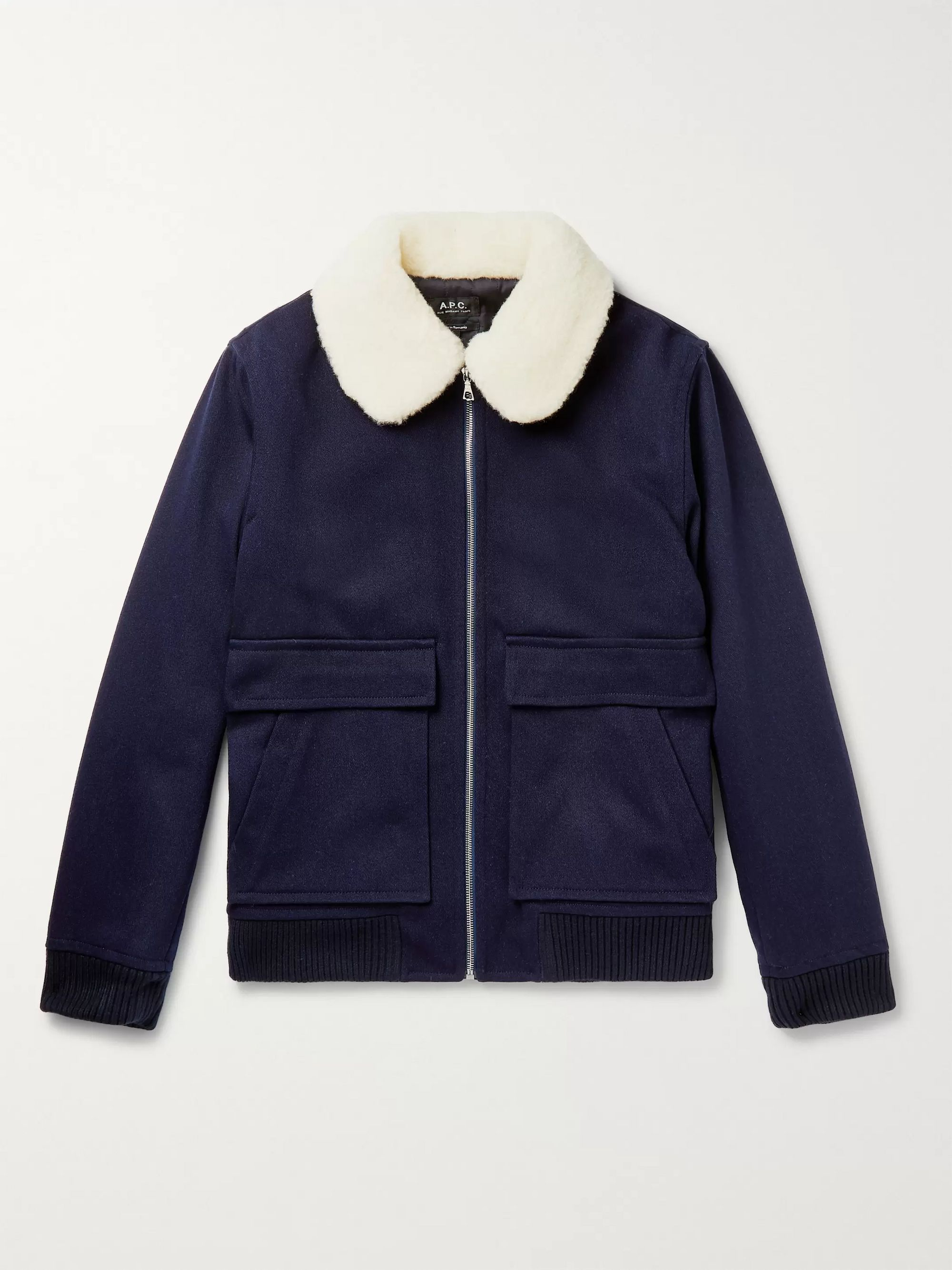 A.P.C. Shearling-Trimmed Wool-Blend Twill Blouson Jacket