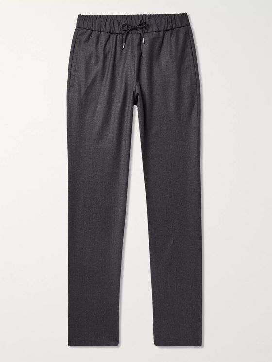A.P.C. Dark-Grey Kaplan Mélange Virgin Wool-Flannel Drawstring Suit Trousers
