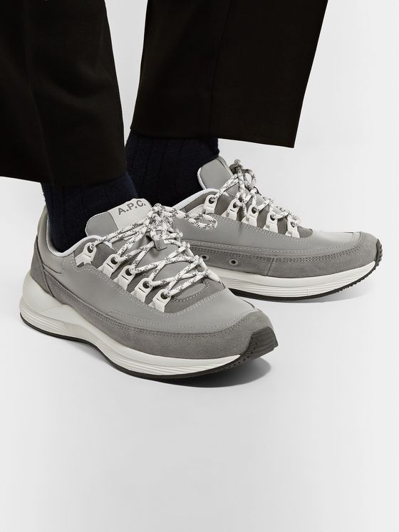 A.P.C. Techno Homme Reflective-Panelled Suede and Nylon Sneakers
