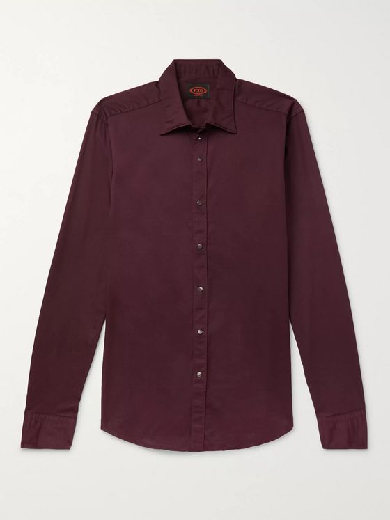 Tod's Slim-Fit Garment-Dyed Stretch-Cotton Twill Shirt