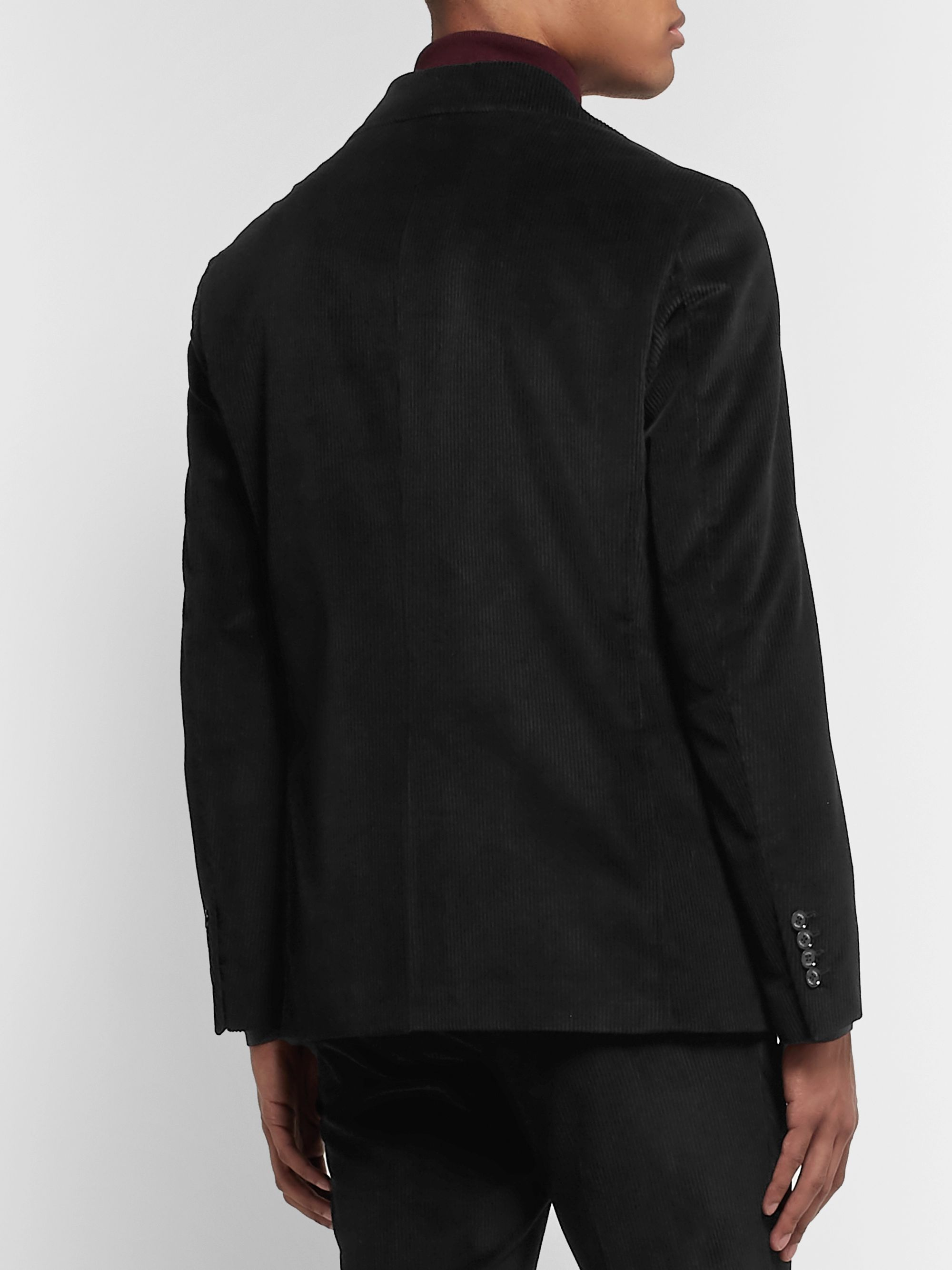 Tod's Black Cotton-Velvet Suit Jacket