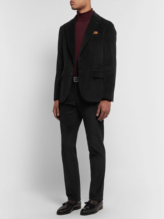 Tod's Black Slim-Fit Cotton-Velvet Suit Trousers
