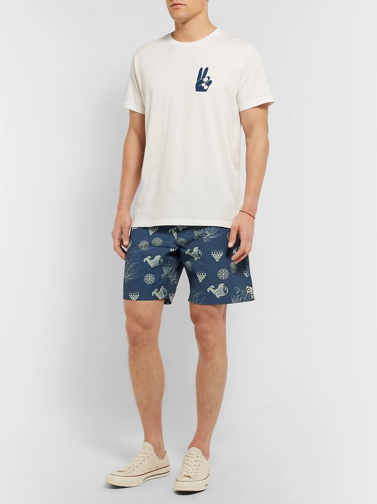 Mollusk Wide-Leg Long-Length Printed Cotton-Blend Swim Shorts