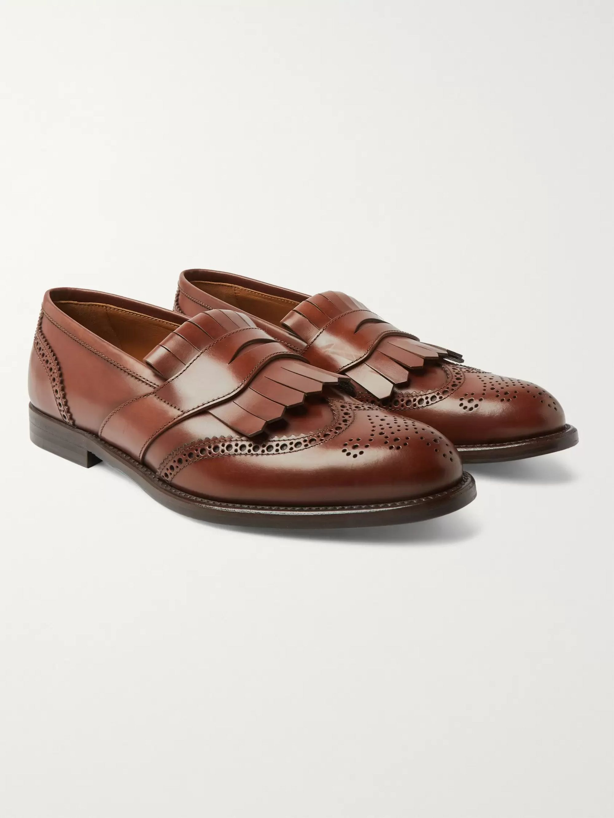 Brunello Cucinelli Brogue-Detailed Leather Kiltie Loafers