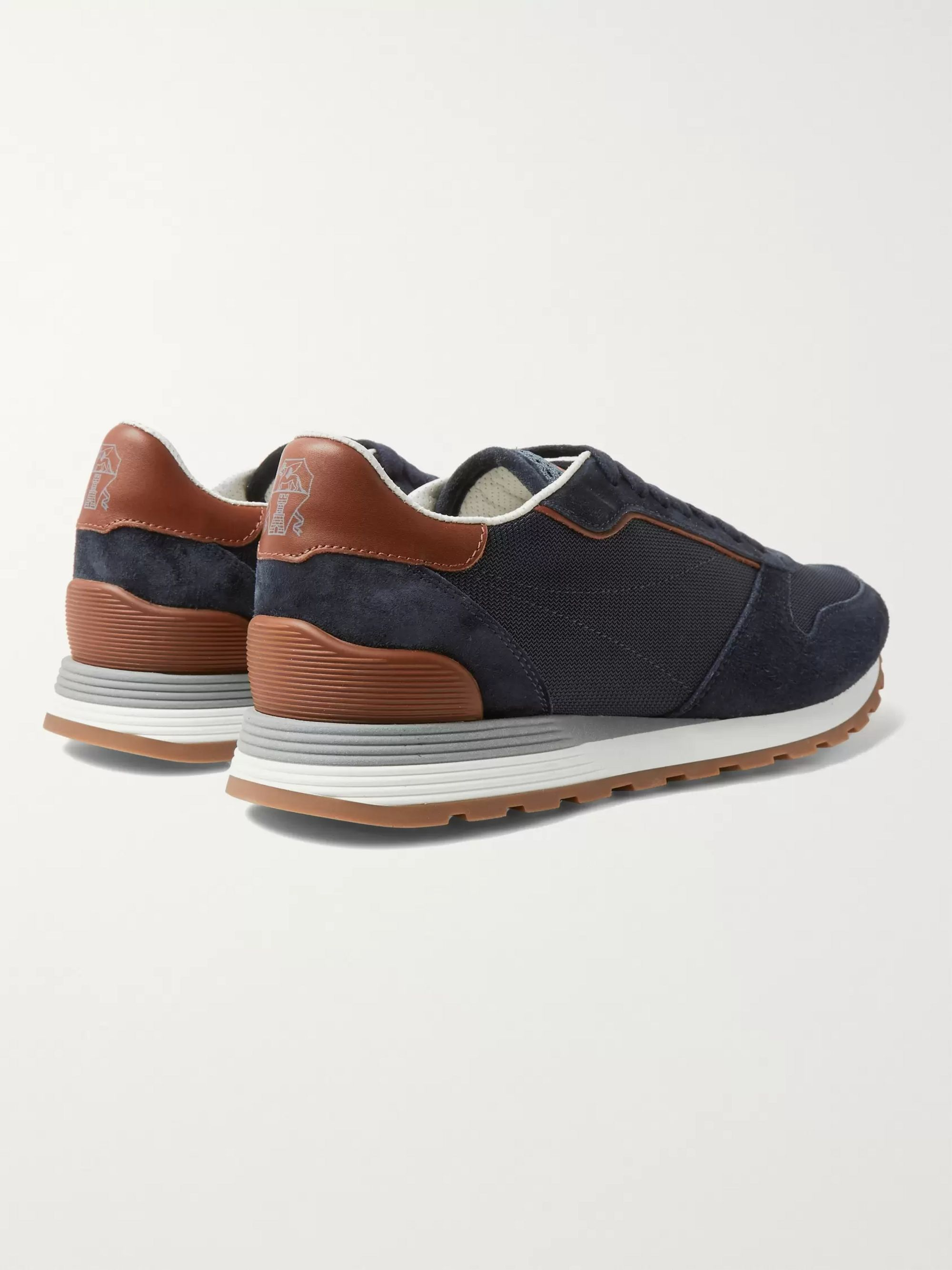 Brunello Cucinelli Leather-Trimmed Suede and Mesh Sneakers