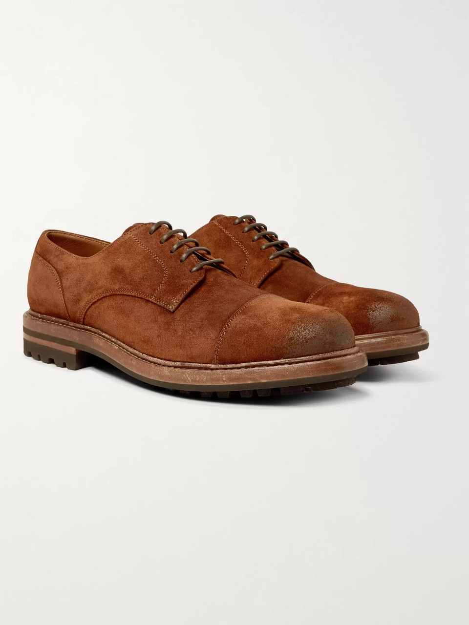 Brunello Cucinelli Cap-Toe Burnished-Suede Derby Shoes
