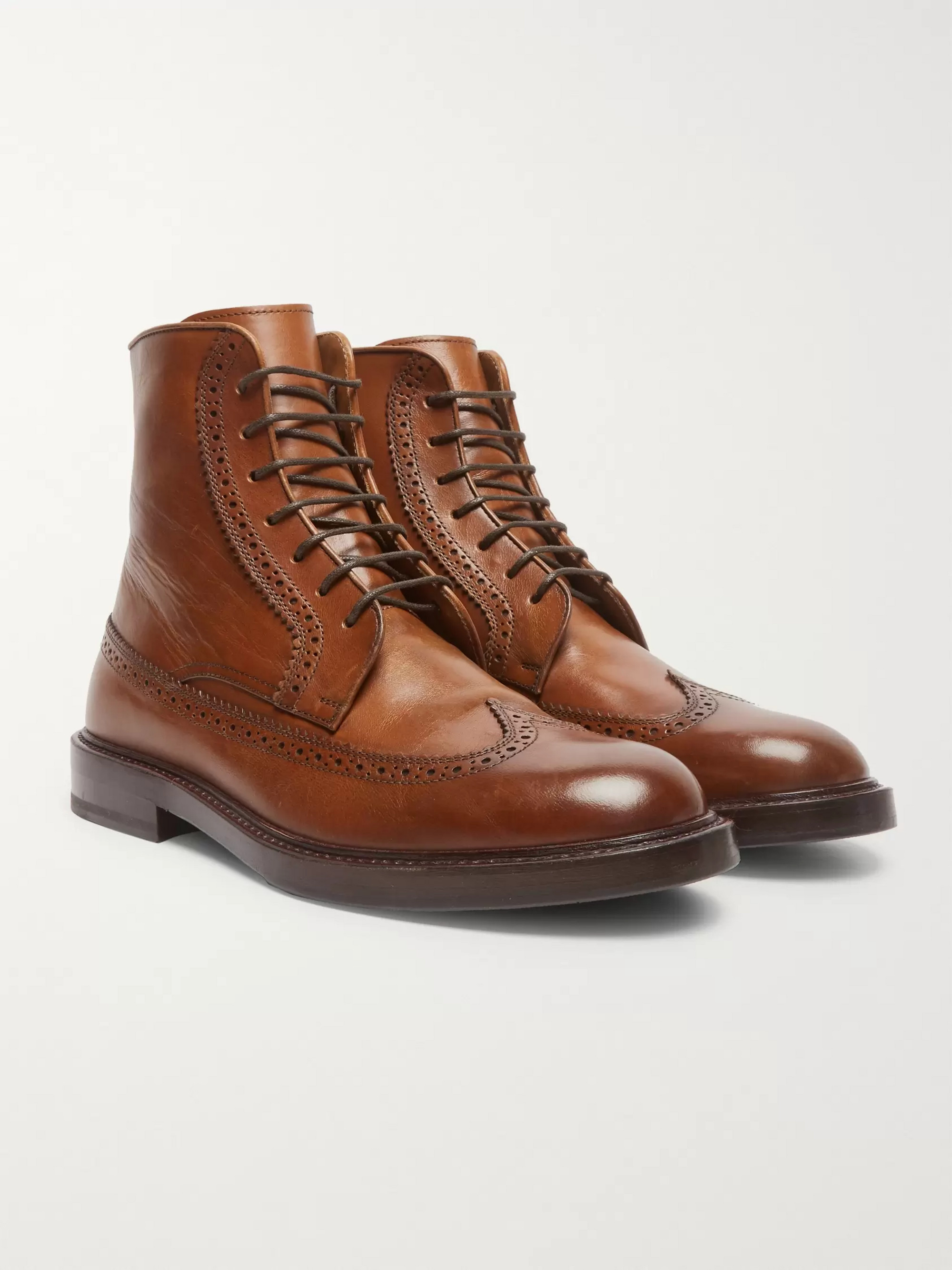Brunello Cucinelli Leather Brogue Boots