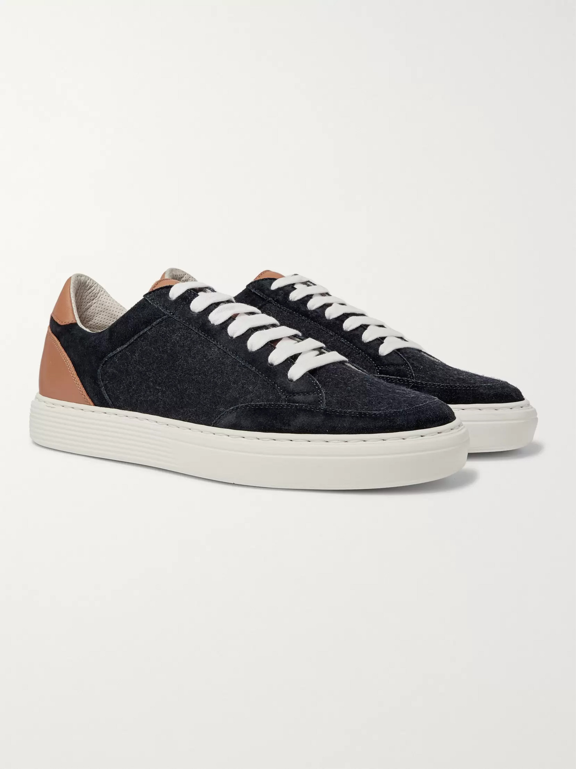 Brunello Cucinelli Leather, Suede and Flannel Sneakers
