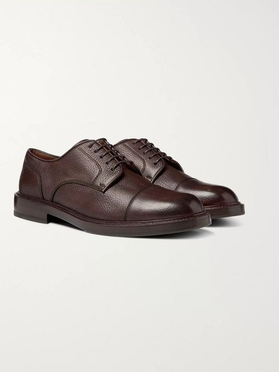 Brunello Cucinelli Cap-Toe Full-Grain Leather Derby Shoes