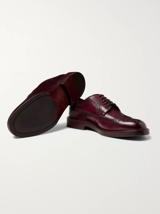 Brunello Cucinelli Polished-Leather Longwing Brogues