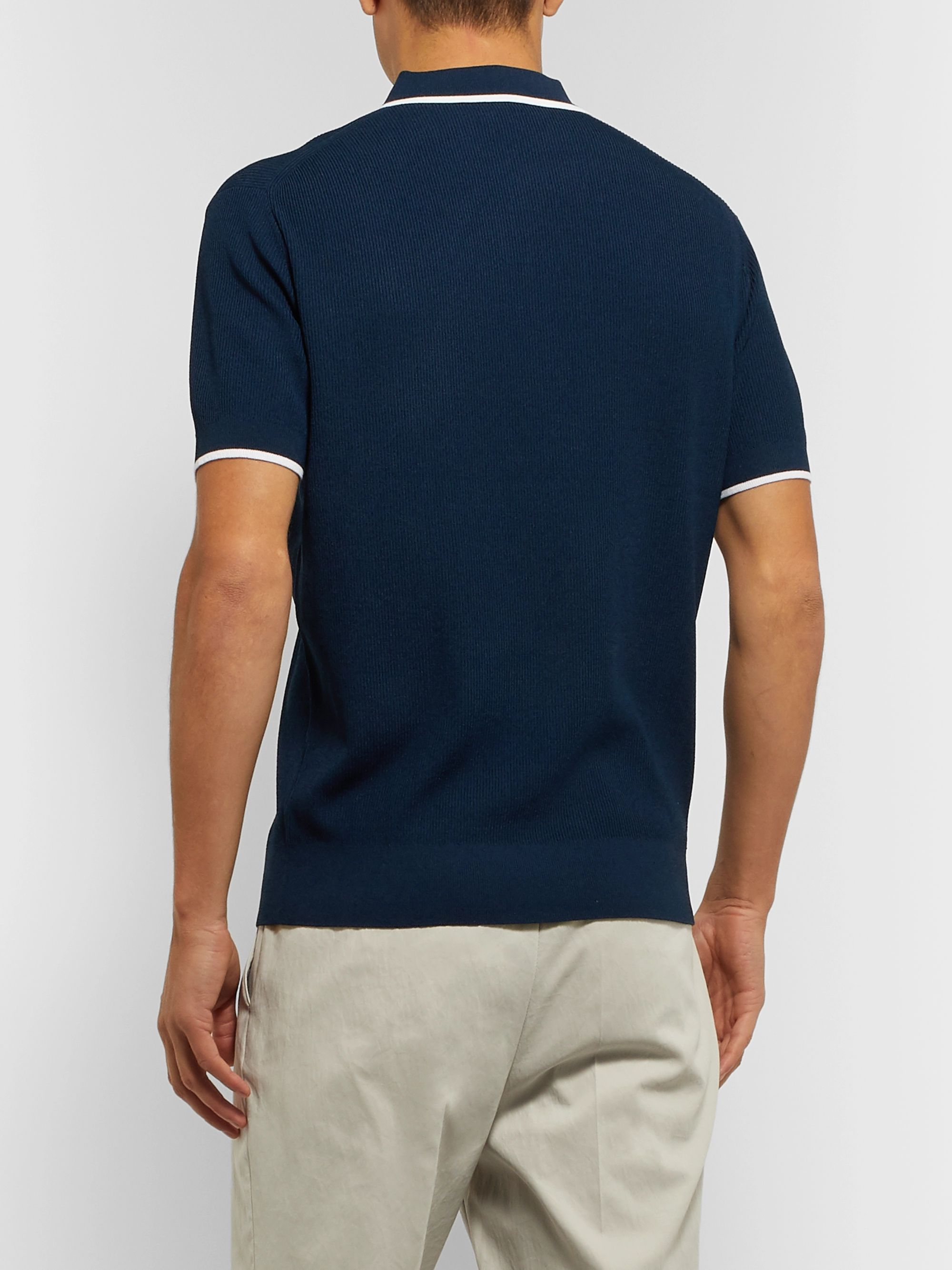 Club Monaco Slim-Fit Contrast-Tipped Ribbed-Knit Polo Shirt