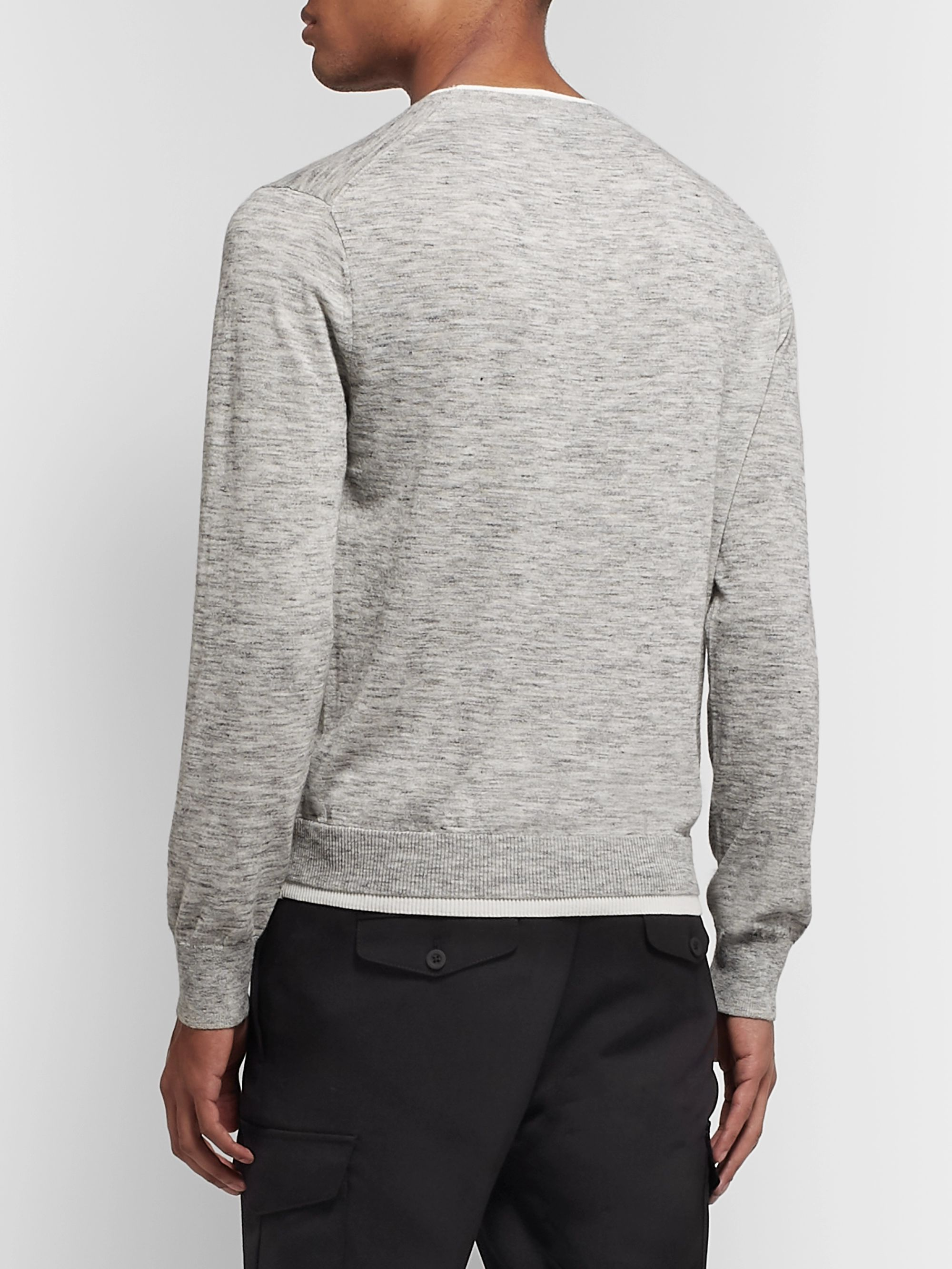 Club Monaco Layered Mélange Cotton-Blend Sweater