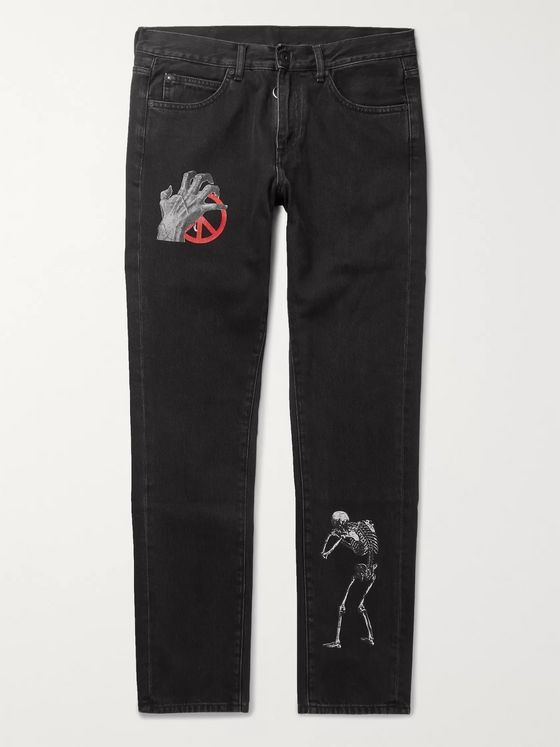 Off-White + Undercover Slim-Fit Logo-Print Denim Jeans