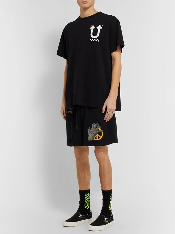 Off-White + Undercover Printed Loopback Cotton-Jersey Shorts