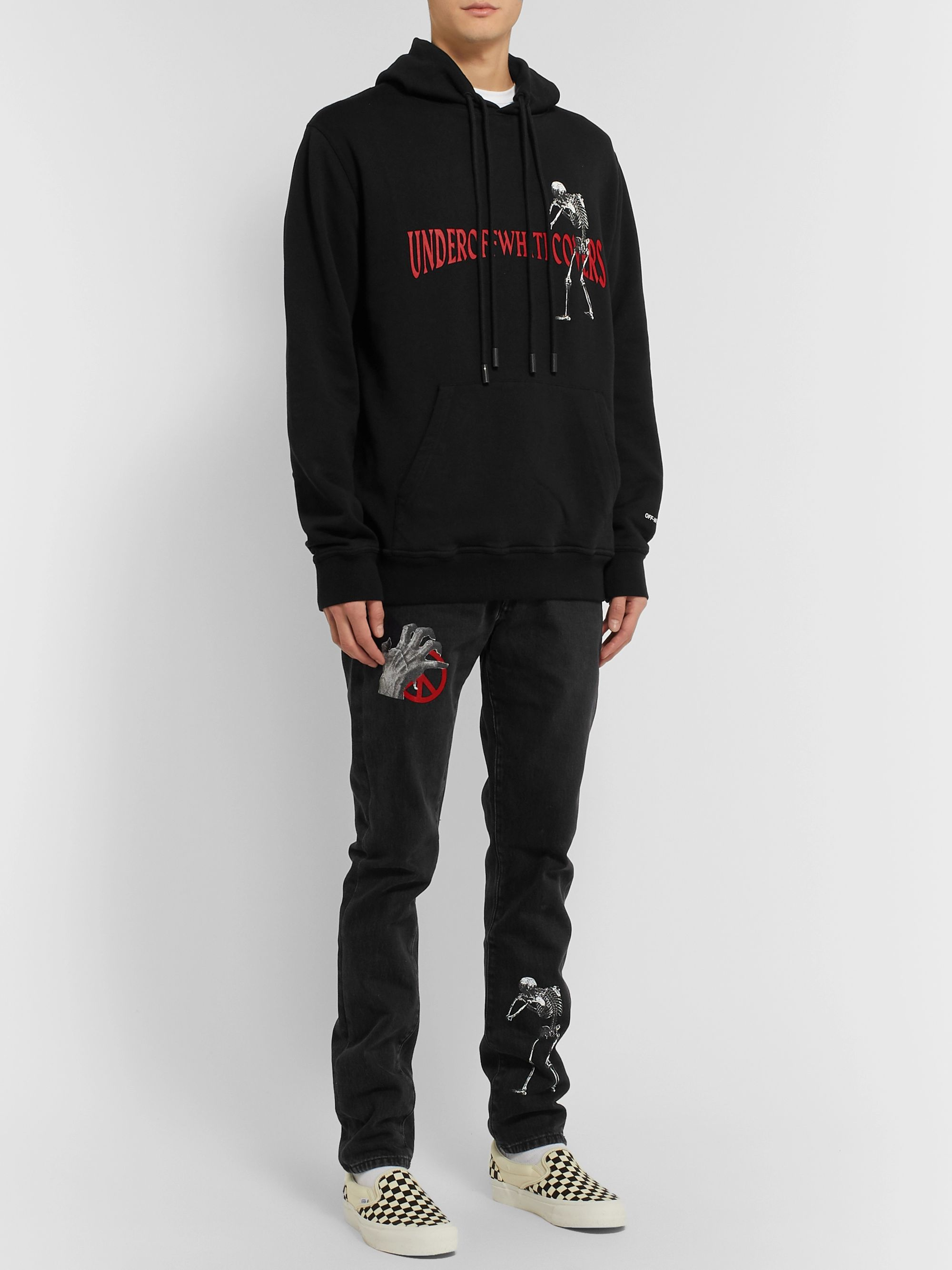 Off-White + Undercover Reversible Logo-Print Loopback Cotton-Jersey Hoodie