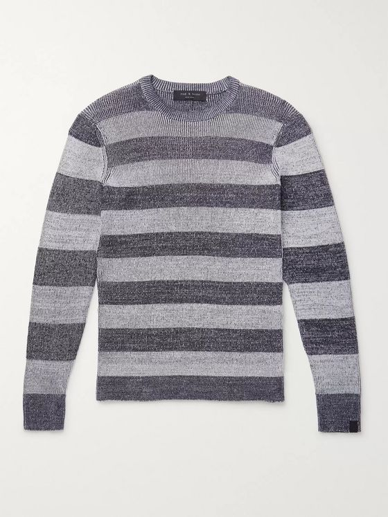 rag & bone Bolton Ribbed Striped Mélange Cotton-Blend Sweater