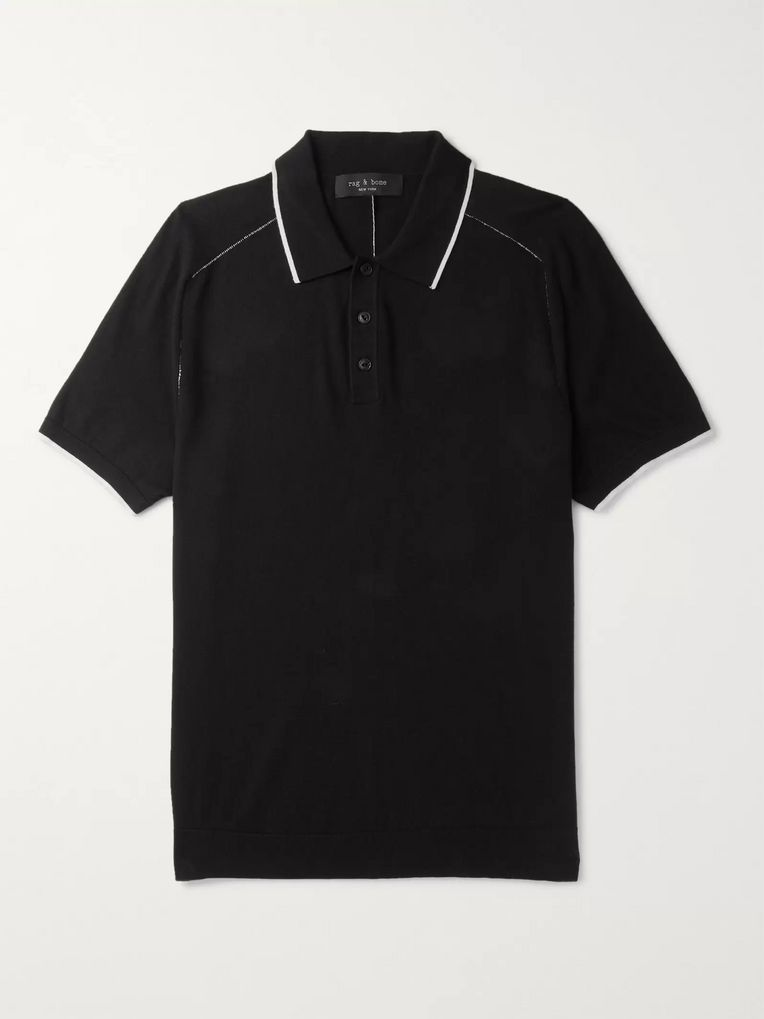 rag & bone Evens Slim-Fit Cotton, Silk and Cashmere-Blend Polo Shirt