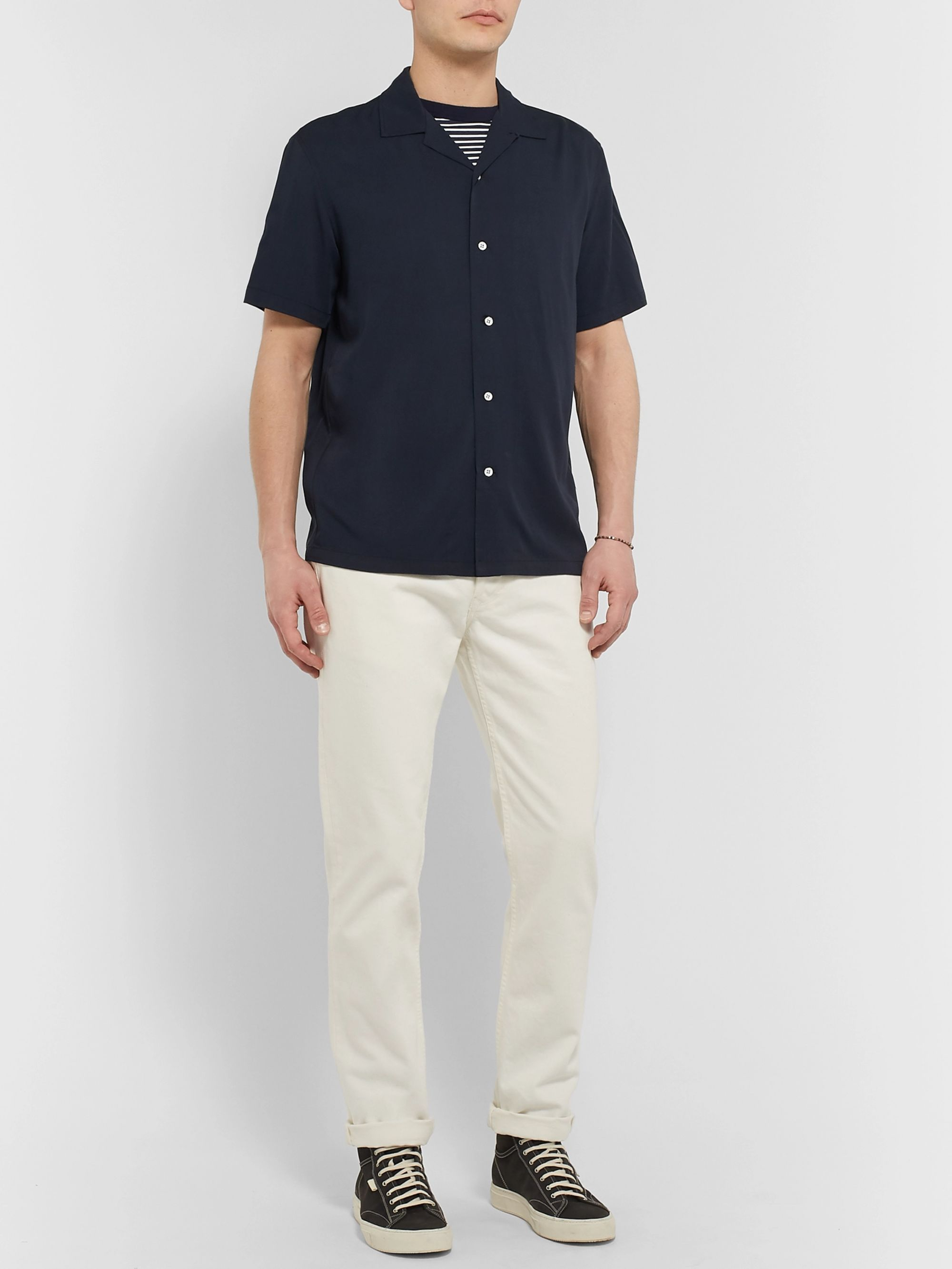 rag & bone Avery Camp-Collar Voile Shirt