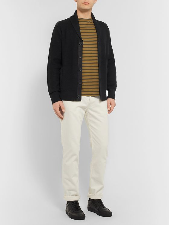 rag & bone Cardiff Shawl-Collar Merino Wool and Cotton-Blend Cardigan