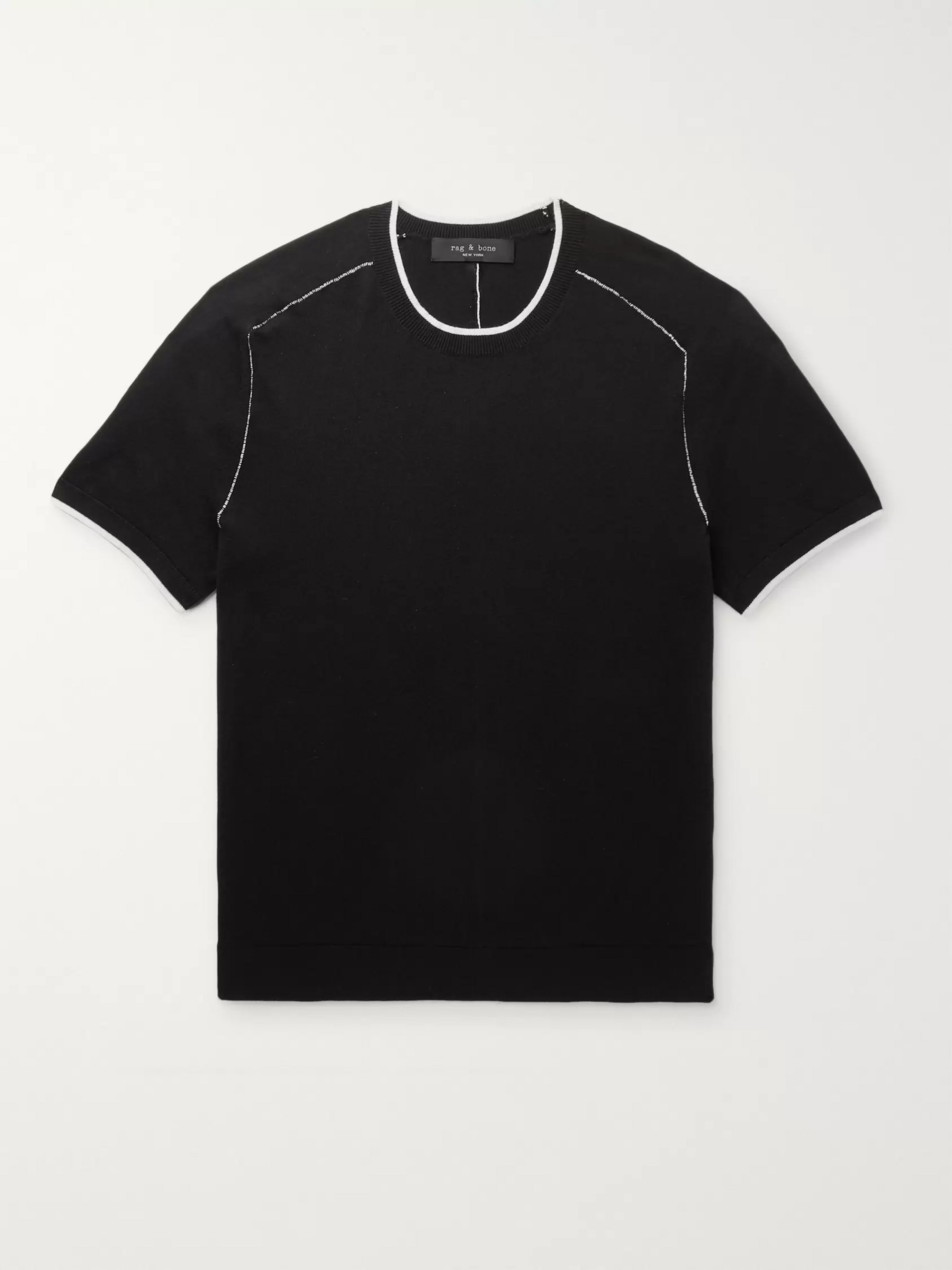 rag & bone Evens Contrast-Tipped Cotton, Silk and Cashmere-Blend T-Shirt