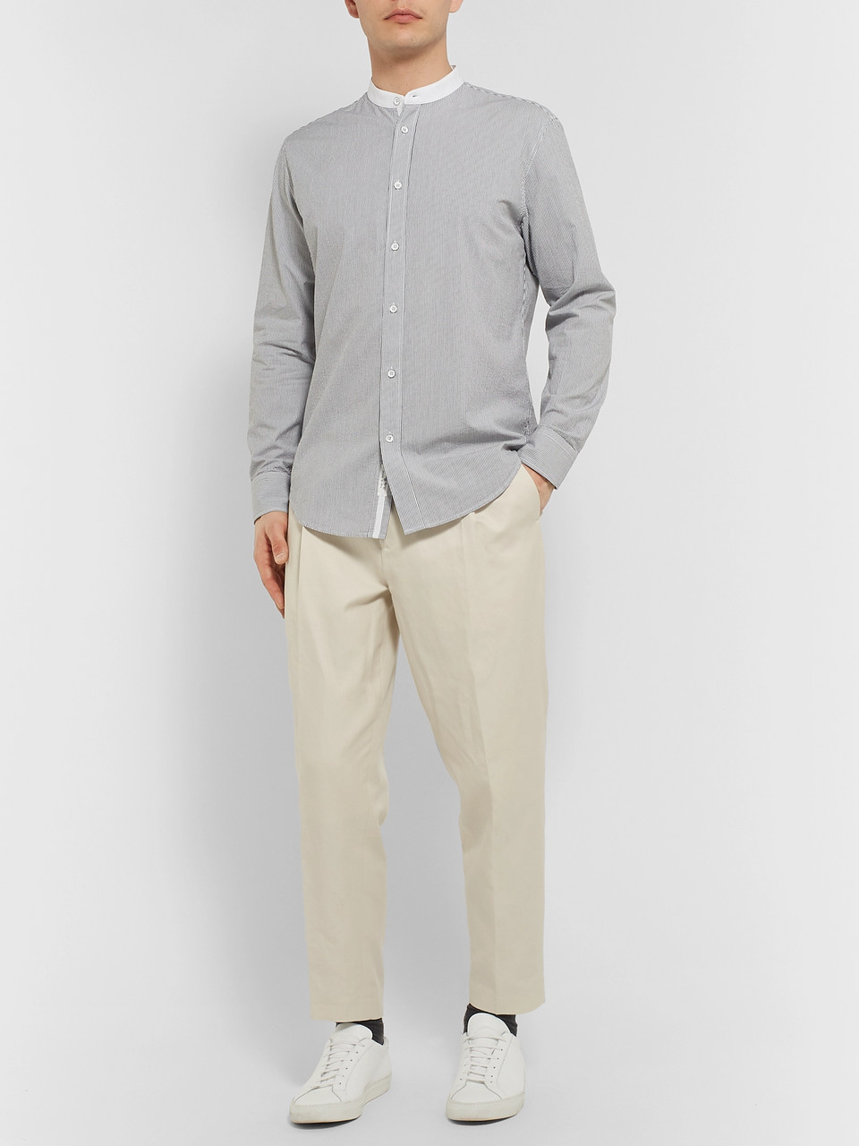 rag & bone Grandad-Collar Striped Cotton Shirt