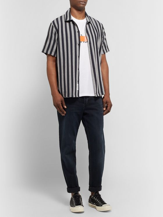 rag & bone Taped Logo-Print Slub Cotton-Jersey T-Shirt