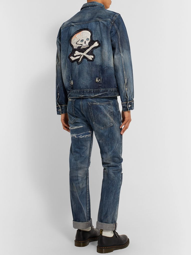 Neighborhood Appliquéd Distressed Denim Jacket