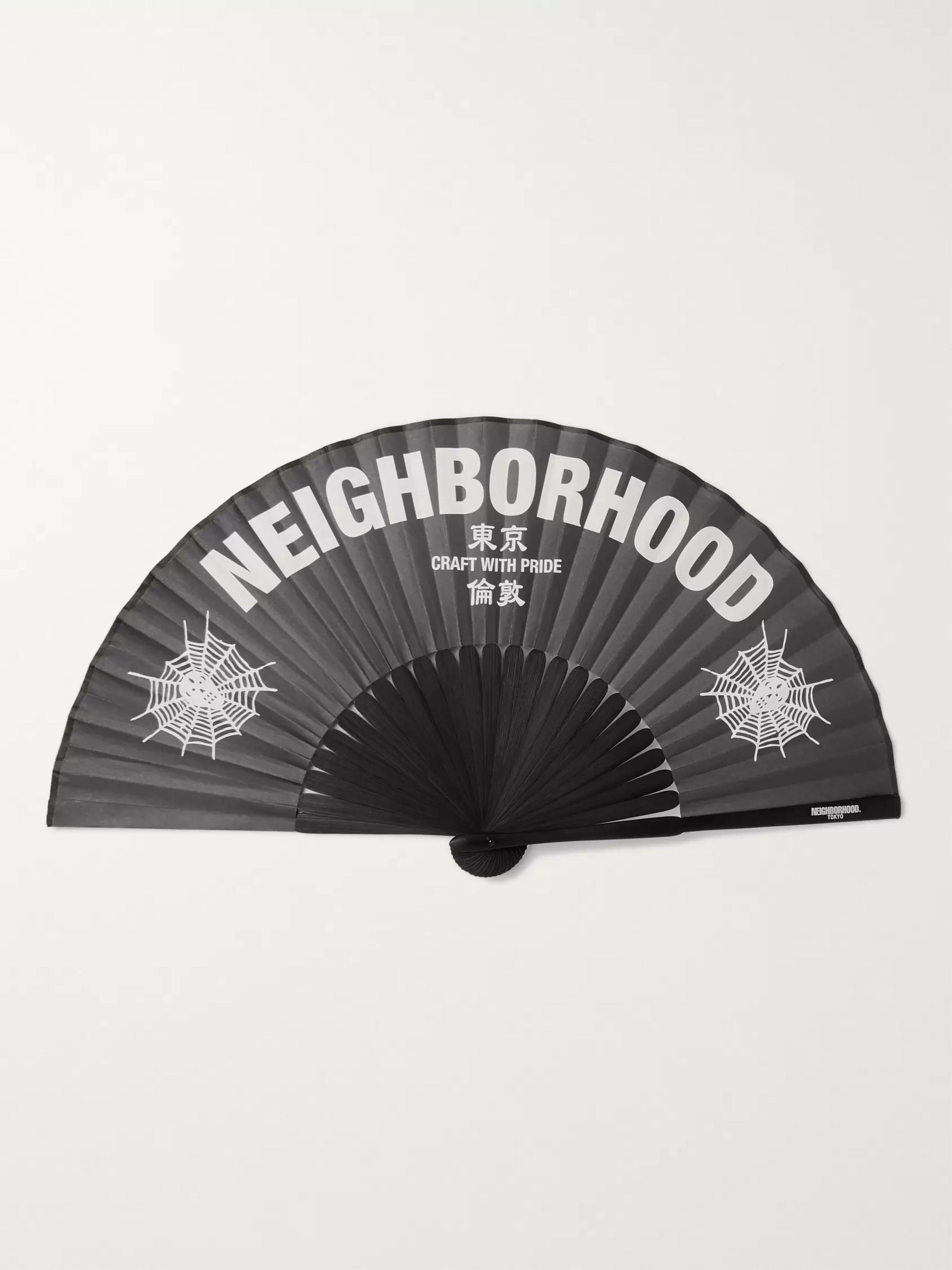 Neighborhood Printed Paper and Bamboo Fan