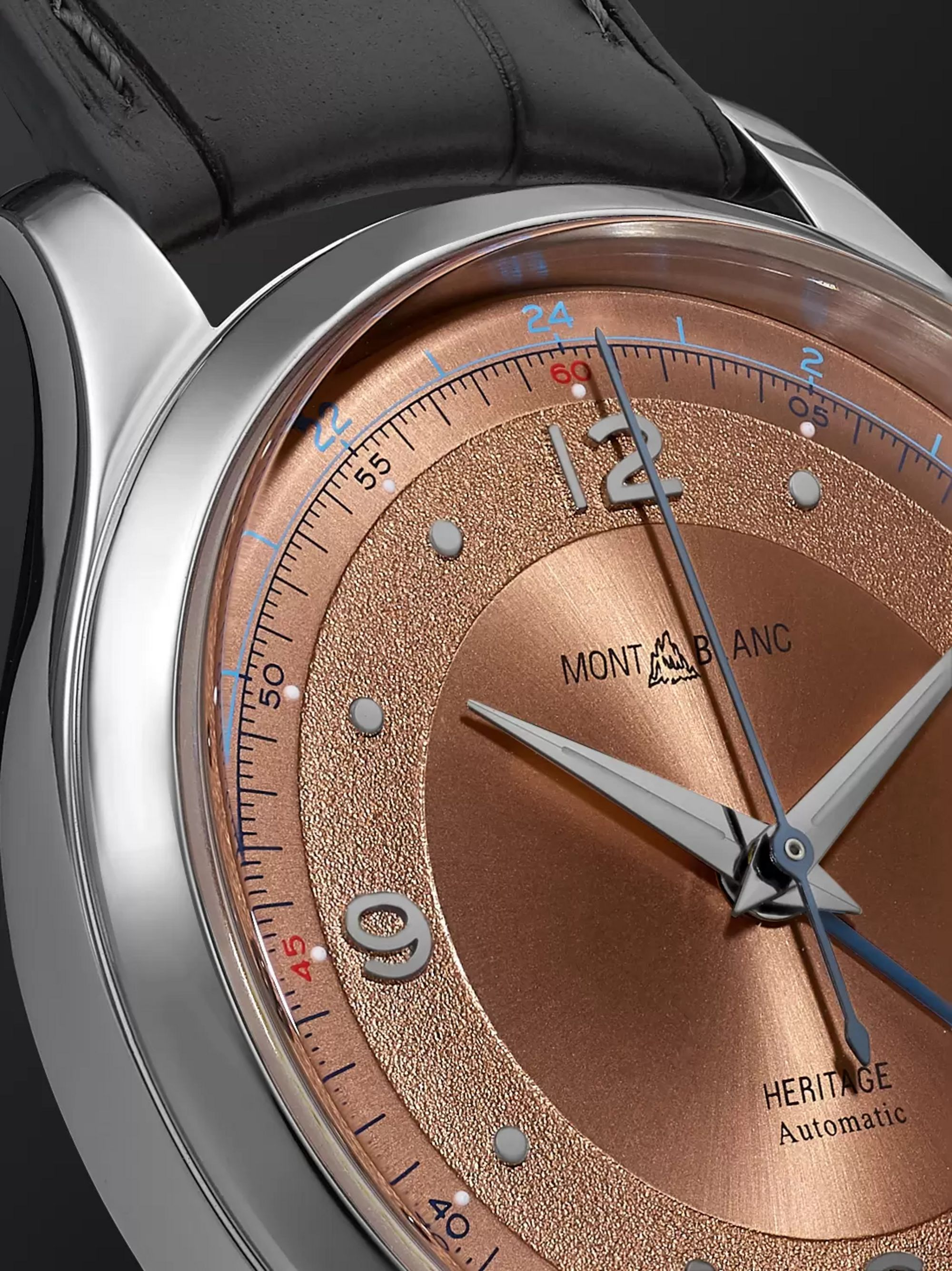 Montblanc Heritage GMT Automatic 40mm Stainless Steel and Alligator Watch, Ref. No. 119950