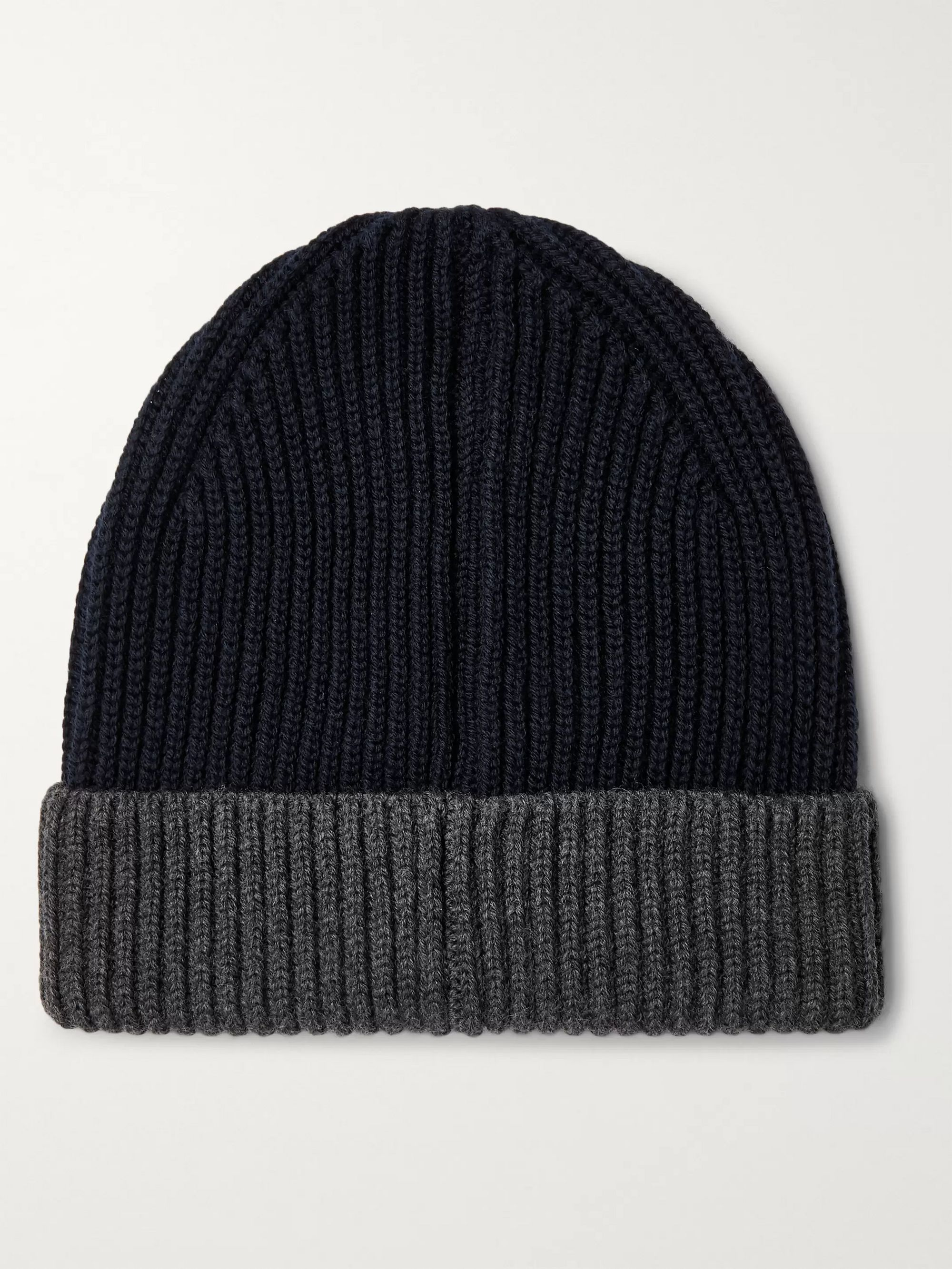 Altea Colour-Block Ribbed Virgin Wool Beanie