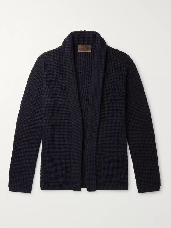Altea Shawl-Collar Textured Wool-Blend Cardigan